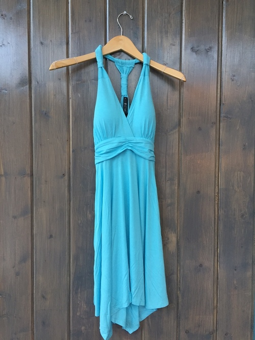Light Blue Halter Tie Back Dress
