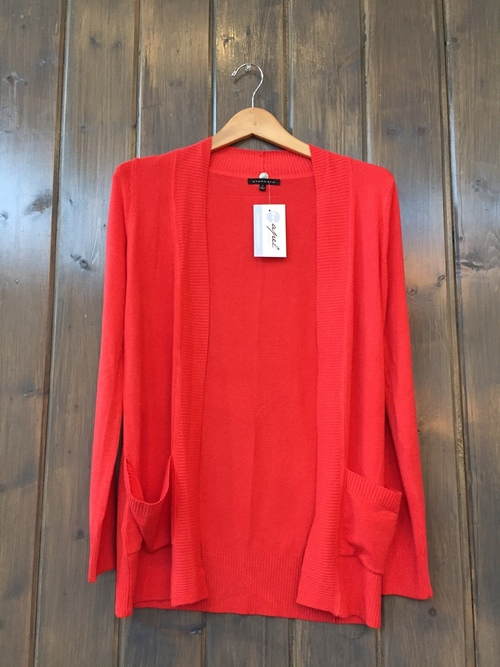 Patch Pocket Long Cardi Coral