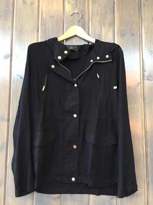 Black Snap Hooded Jacket