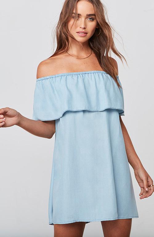 Maci Light Blue Off Shoulder Dress