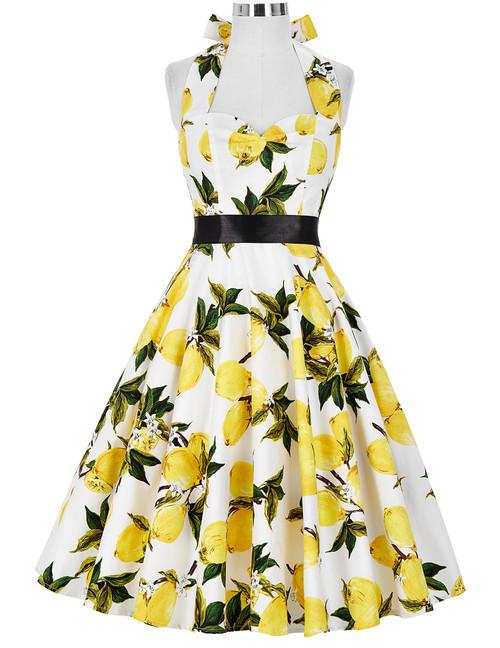 Norma Dress in Lemon Print