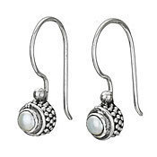 Small Round Pearl Hook Earrings