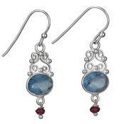 Facet Apatite and Garnet Drop Earrings