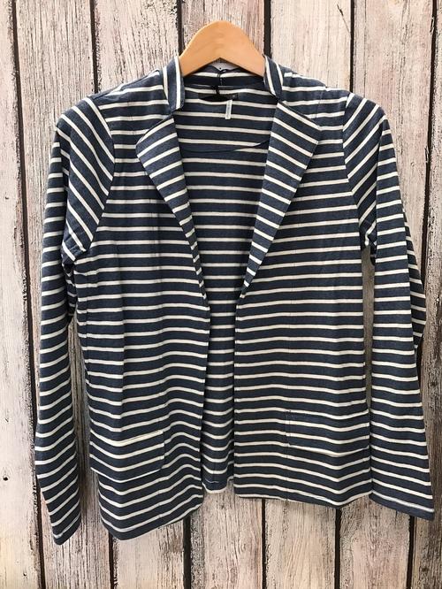 Navy & White Striped Knit Blazer