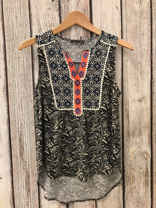 Palm Print Embroidered Sleeveless Top