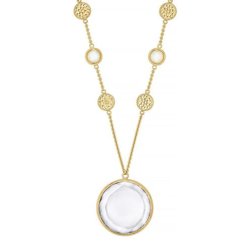 Moonstone & Crystal Circle Pendant Necklace- Gold