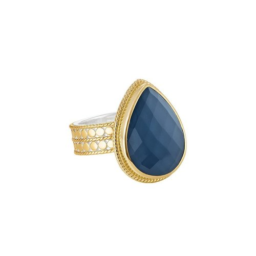 Blue Quartz Drop Ring- Gold