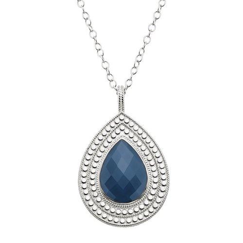 Blue Quartz Pendant Necklace Double Sided- Silver