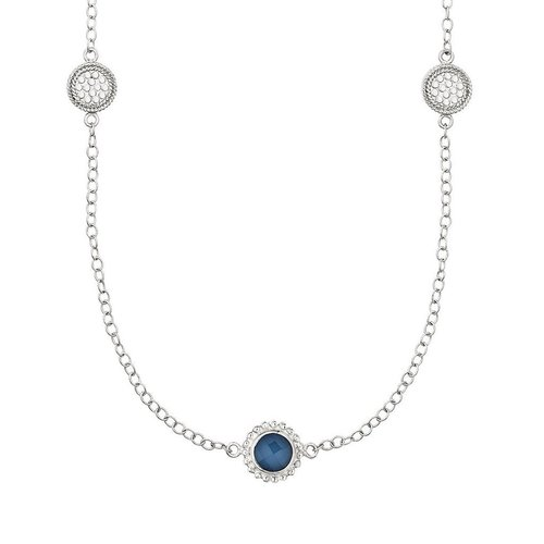Blue Quartz Multi- Disc Necklace- Silver