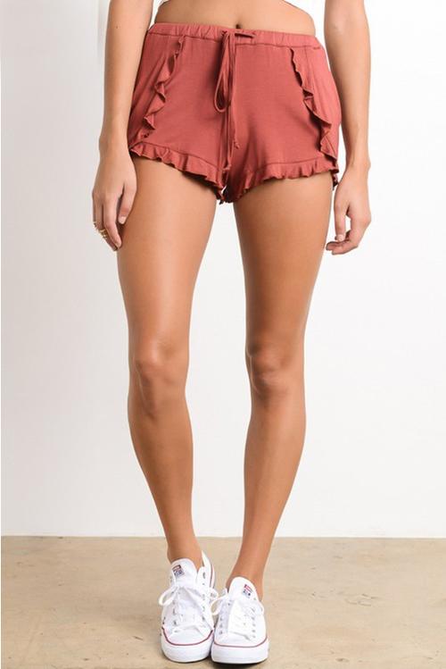Ruffle Trim Hem Shorts