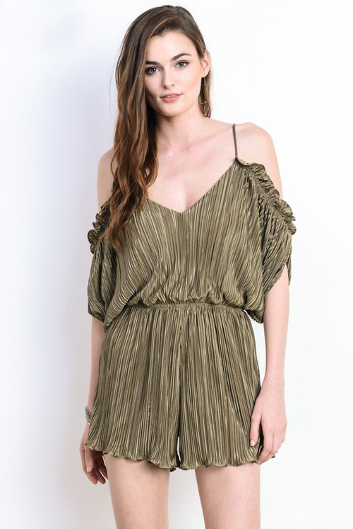 Cold Shoulder Pleated Ruffle Romper
