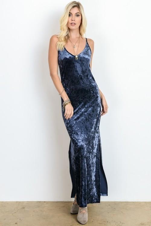 Velvet V Neck Cami Dress