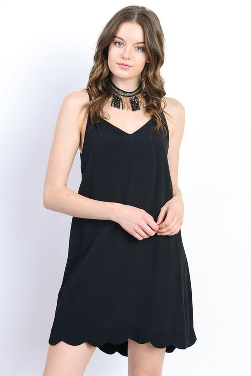Strap Back Scalloped Tank Dress