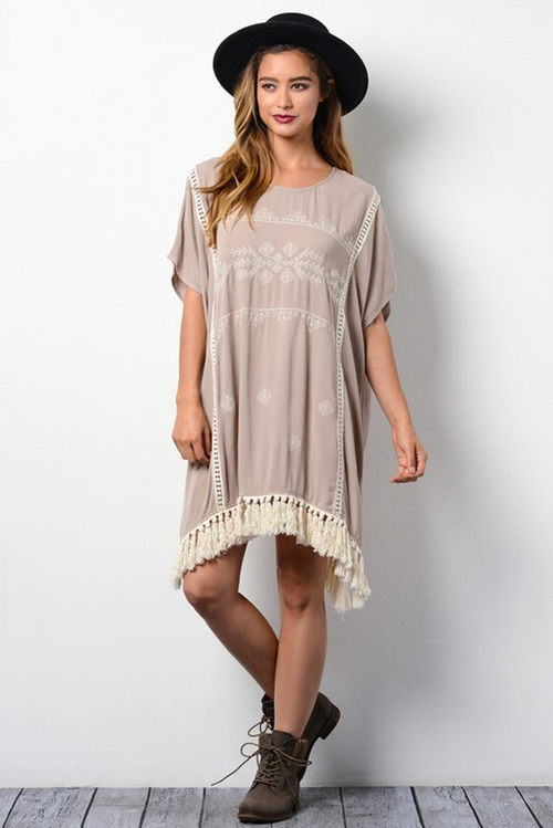 Crochet Lace Tassel Hem Dress