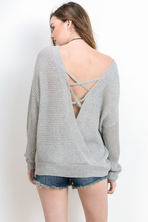 2 Way Criss Cross Long Sleeve Sweater