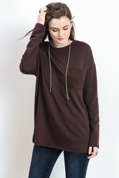 Thick Long Sleeve Pocket Top