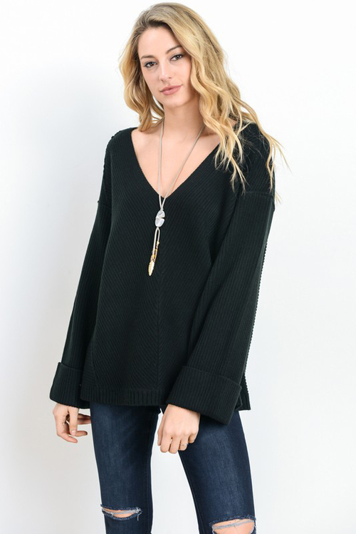 V Neck Cuff Sleeve Baggy Sweater