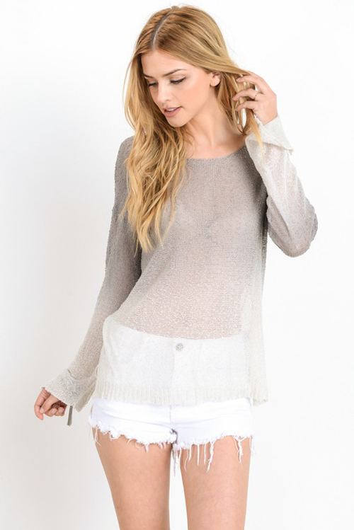 Ombre Long Sleeve Thin Sweater Top
