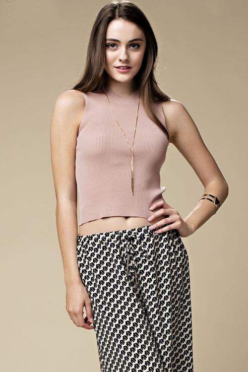 High Neck Ribbed Knit Crop Top
