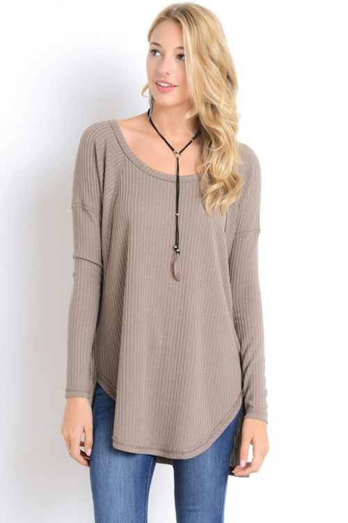 Ribbed Drop Sleeve Long Sleeve Top