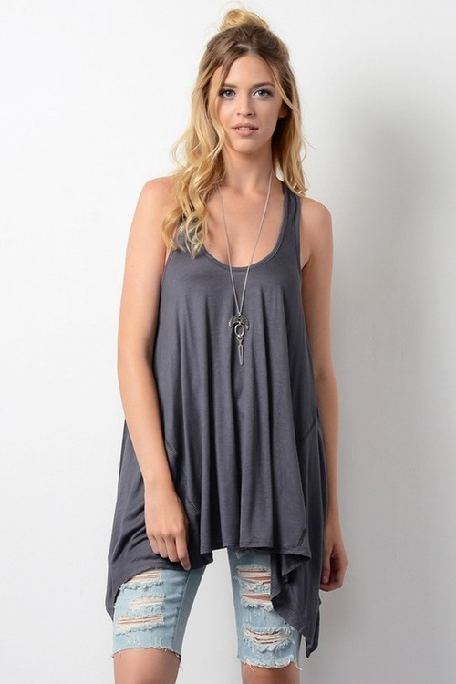Wide Neck Long Loose Sleeveless Top