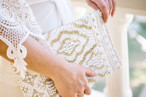 The Christina Cream Embroidered Clutch