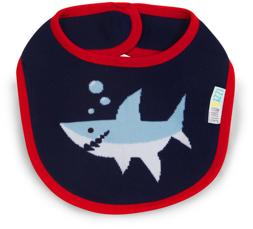 Red & Navy Shark Baby Bib