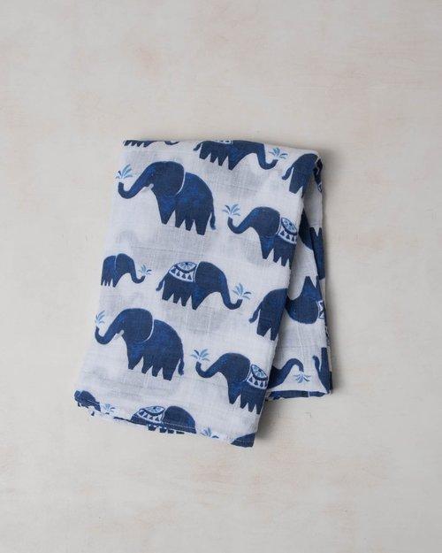 Indie Elephant Muslin Swaddle Blanket