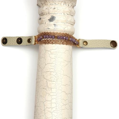 Lavender & Gold Bead Gold Chain Bracelet
