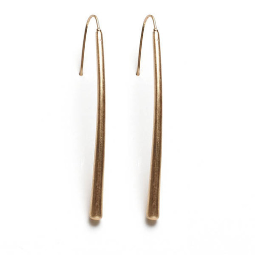 Long Delicate Gold Double Teardrop Earrings
