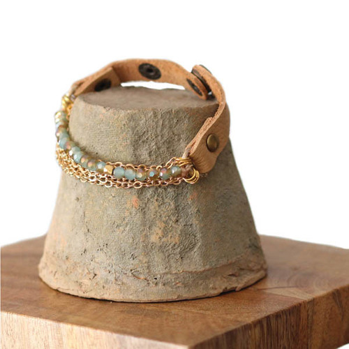 Aqua Bead w/ Gold Chain Tan Bracelet