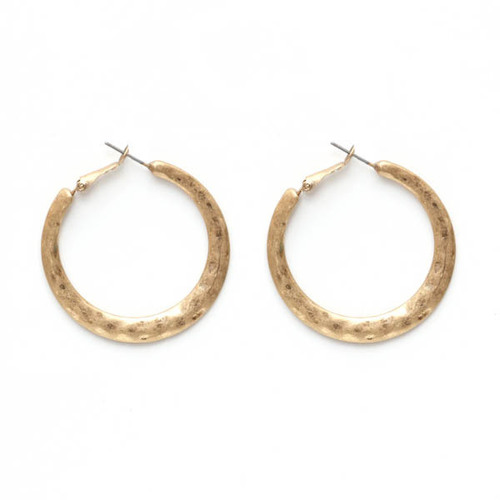 Flat Hoop Gold Earrings