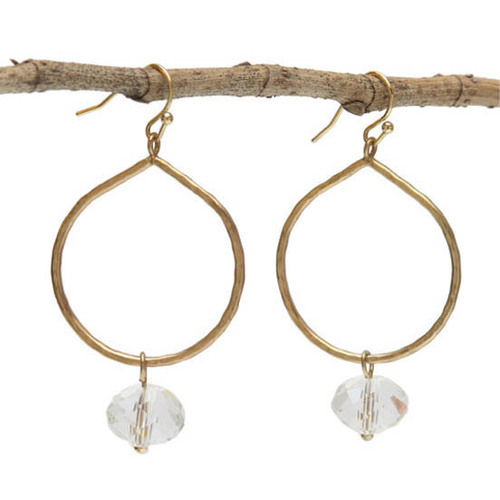 Round Gold Earrings w/ Clear Drop