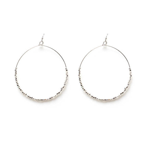 Large Circle Earrings w/ Silver Beads