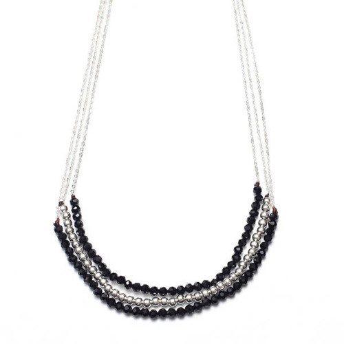 3 Layer Black & Silver Bead Necklace