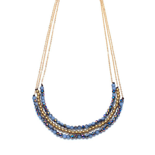 3 Layer Periwinkle & Gold Bead Necklace