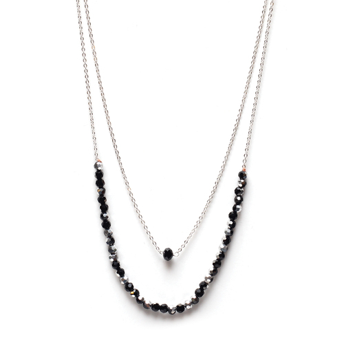 2 Layer Black w/ Mixed Bead Necklace