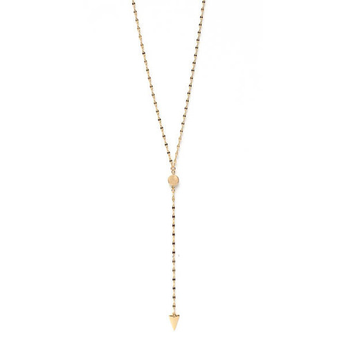 18K Gold Plated Round Charm Arrow Necklace