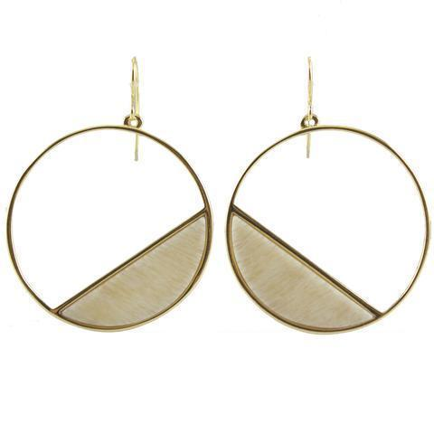 18K Gold Plated Round Earring With Slice of Stone on Side