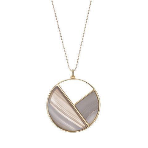 18K Gold Plated Necklace With Round Pendant With Three Divisions