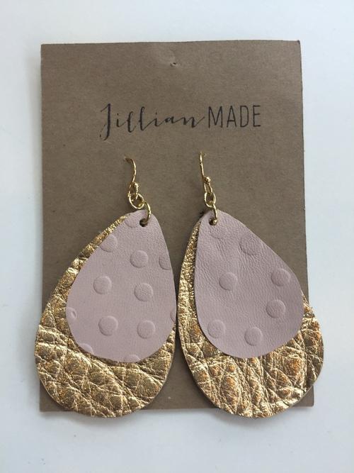 Jillian Made Gold & Pink Drop Earrings