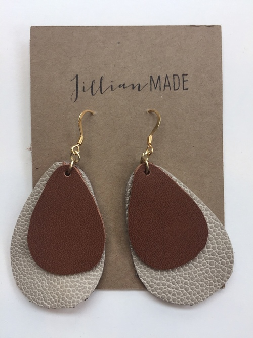 Jillian Made Taupe & Brown Drop Earrings