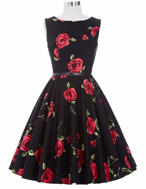 Felicity dress in red rose