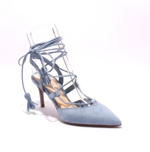Sky Blue Suede Strappy Pointy Stiletto Heel Sandal