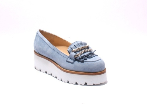 Sky Blue Suede / Fringe White Sole Platform Loafers