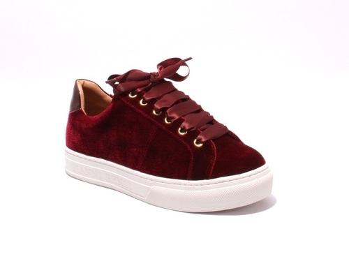Burgundy Velour / Leather Lace-Up Sneakers