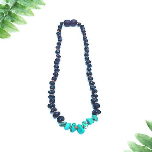 Raw Black & Turquoise Howlite