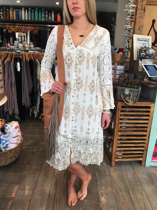 Lace Crochet Printed Bell Sleeve Dress