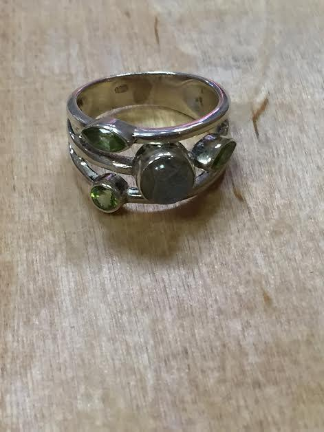 Three Tier Peridot and Labradorite Ring
