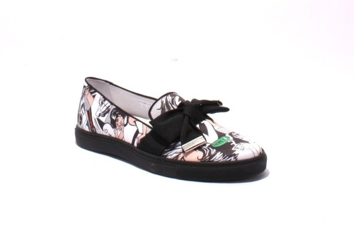 Multi Color Fabric Leather Bow Slip-On Loafers
